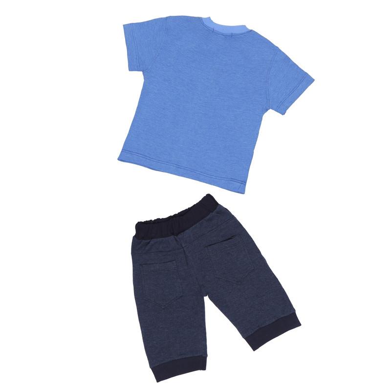 ست تیشرت و شلوارک پسرانه طرح Gentleman کد 502 رنگ آبی