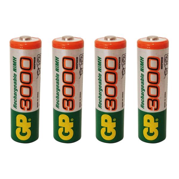 باتری قلمی قابل شارژ جی پی مدل 3000 بسته 4 عددی