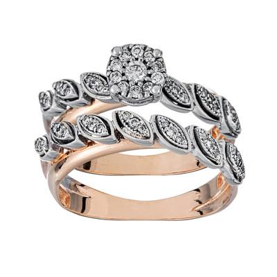 تصویر انگشتر طلا 18 عیار زنانه جواهری سون مدل 2528.2529 مجموعه 2 عددی