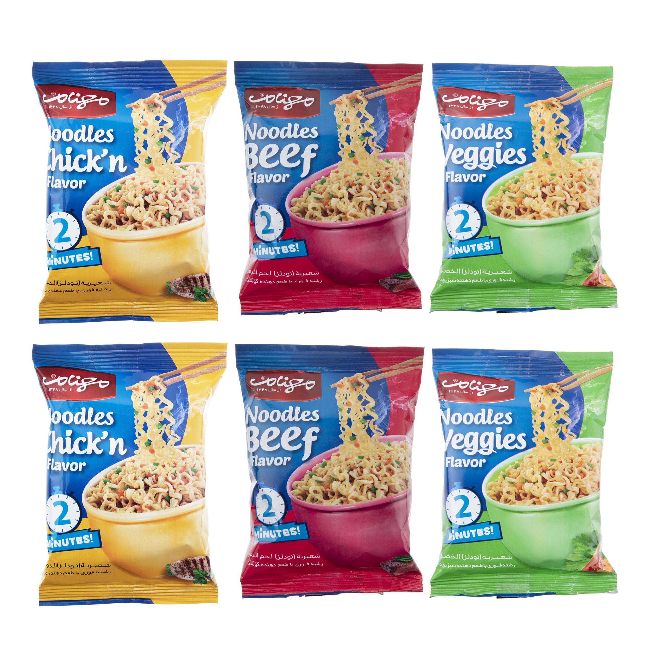 نودل طعم دار  مهنام  - 65 گرم  بسته 6 عددی