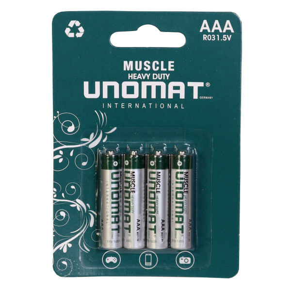 باتری نیم قلمی یونومات مدل Muscle Heavy بسته 4 عددی