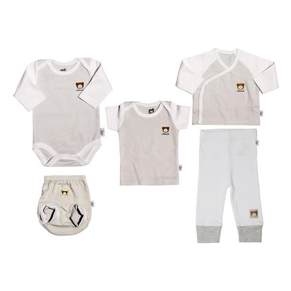 ست 5 تکه لباس نوزاد آدمک طرح راه راه کد 00-152077 رنگ طوسی