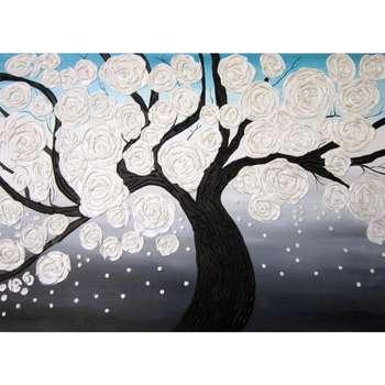 تابلو نقاشی میکس مدیا طرح شکوفه برفی کد 211/2