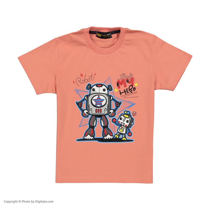 ست تی شرت و شلوارک پسرانه خرس کوچولو مدل 2011120-86