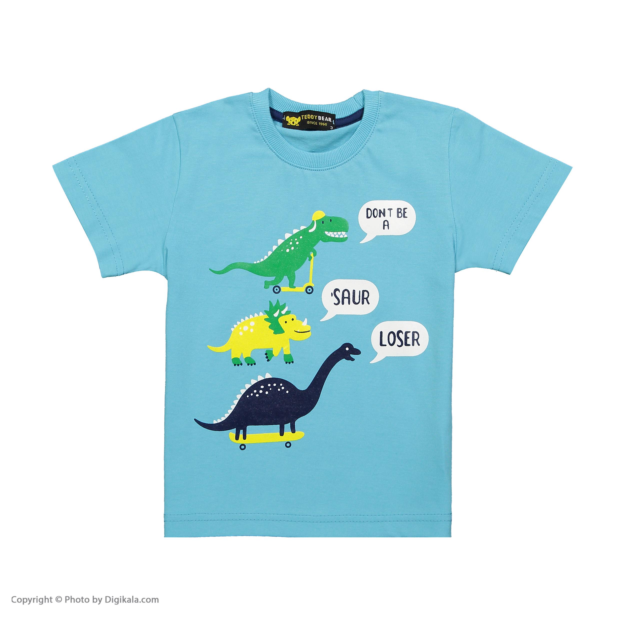 ست تی شرت و شلوارک پسرانه خرس کوچولو مدل 2011121-50