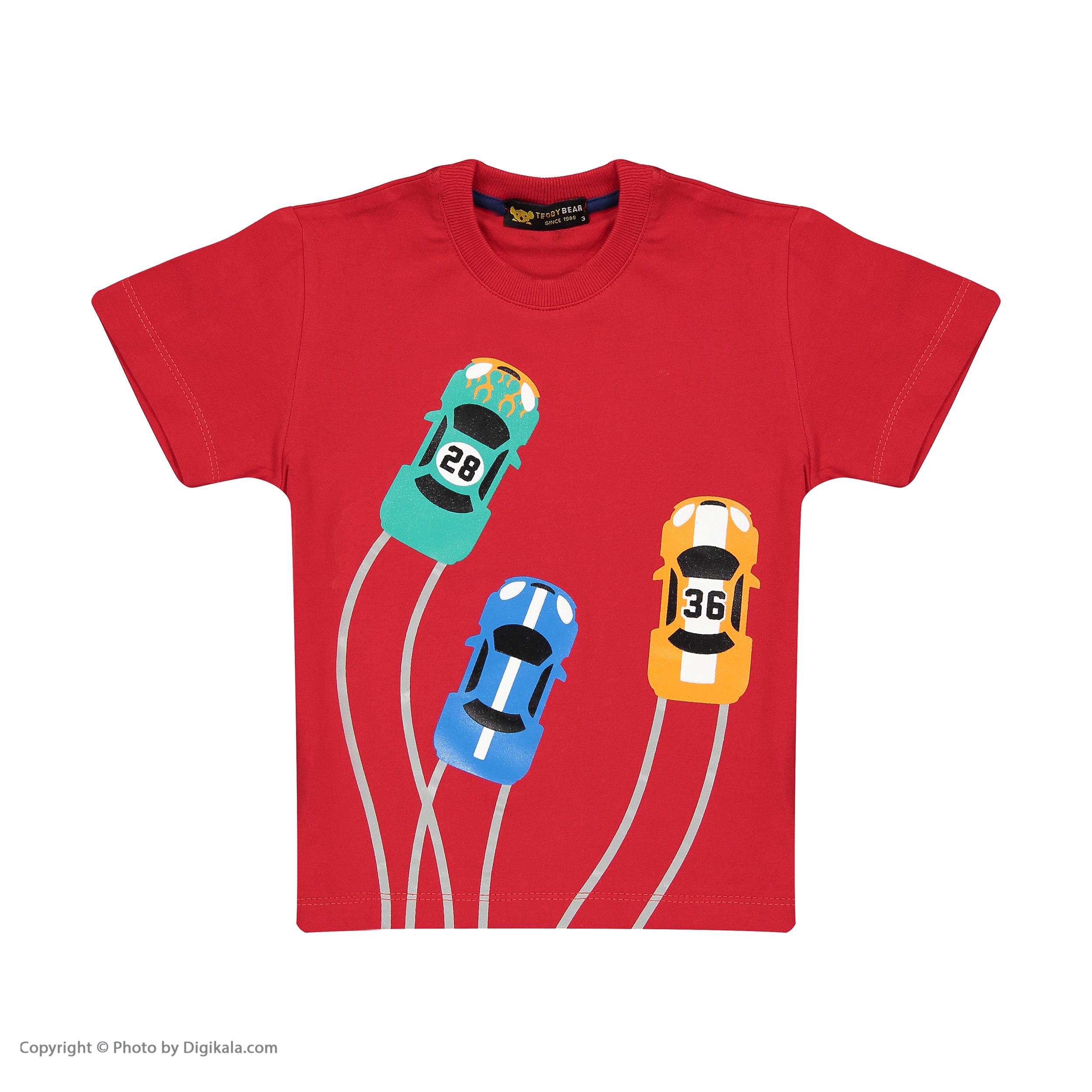 ست تی شرت و شلوارک پسرانه خرس کوچولو مدل 2011123-72