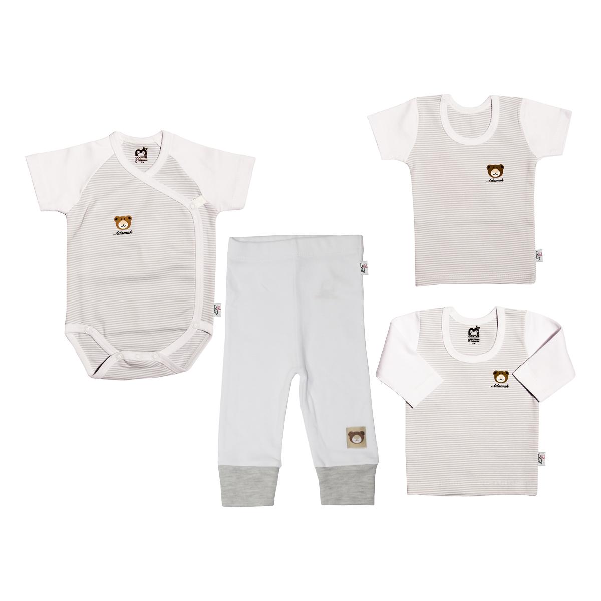 ست 4 تکه لباس نوزاد آدمک طرح راه راه کد 0-152083 رنگ طوسی