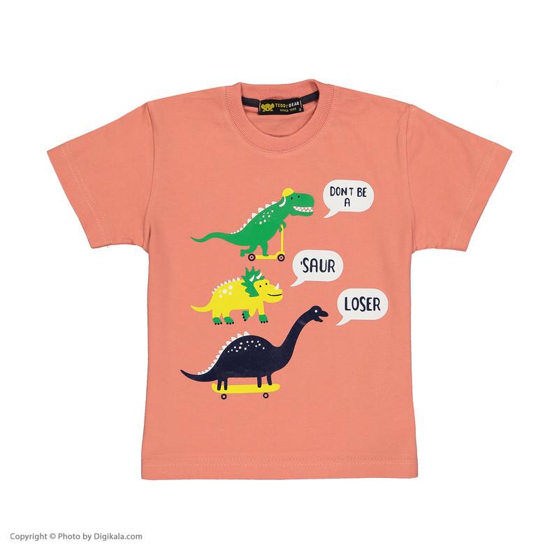 ست تی شرت و شلوارک پسرانه خرس کوچولو مدل 2011121-86