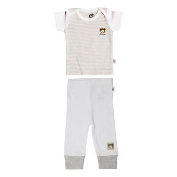 ست تی شرت و شلوار نوزادی آدمک طرح راه راه کد 2-152088 رنگ طوسی
