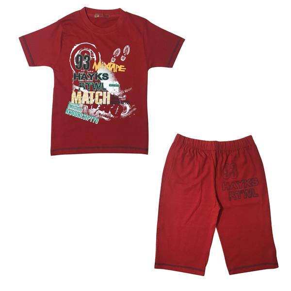 ست تی شرت و شلوارک پسرانه کد 122 رنگ قرمز