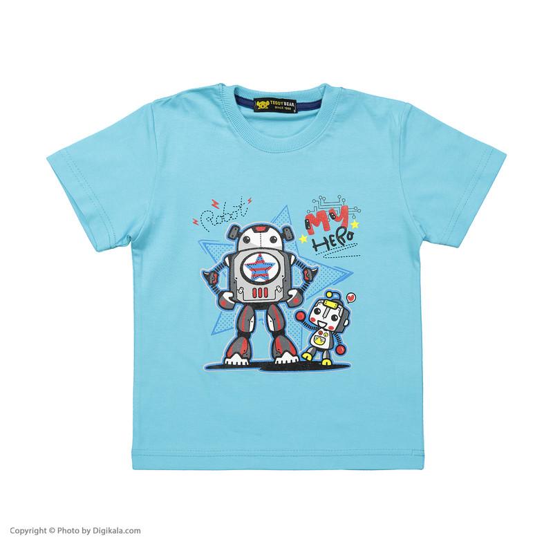 ست تی شرت و شلوارک پسرانه خرس کوچولو مدل 2011120-50