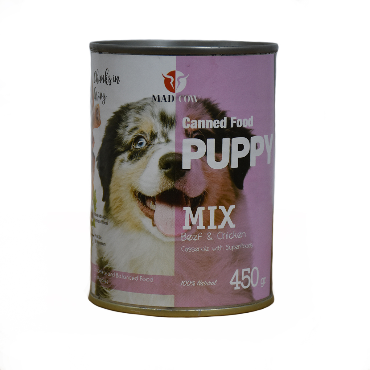 کنسرو غذای سگ مدکاو مدل Puppy Mix وزن 450 گرم