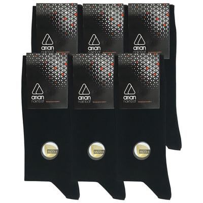 تصویر جوراب مردانه آریان نخ باف کد 53217 بسته 6 عددی