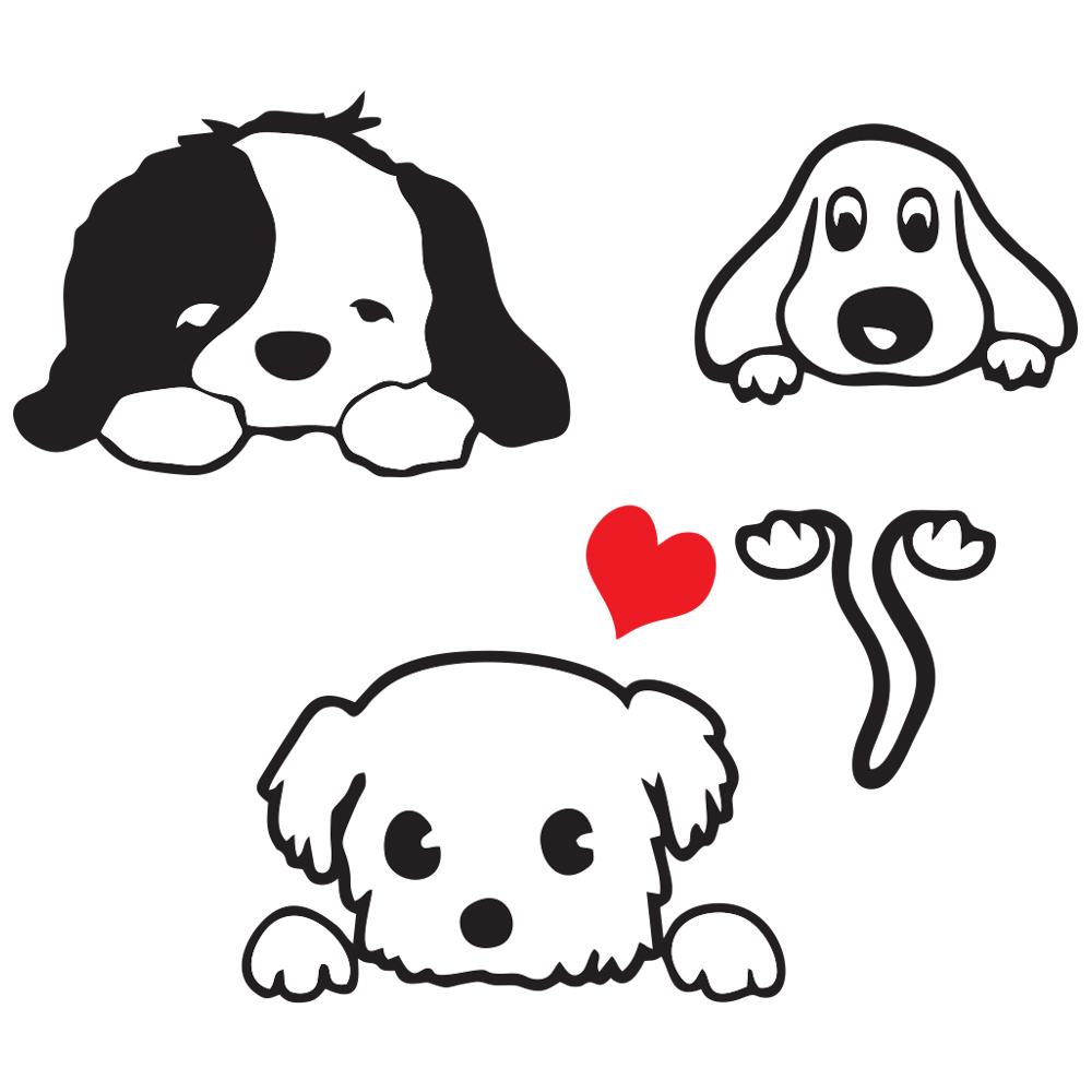 استیکر فراگراف FG طرح سگ ها مدل HSE 036 مجموعه 3 عددی