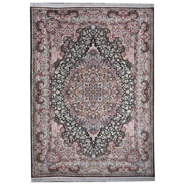 فرش ماشینی مهتاب پارسیان طرح شاه پسند زمینه قهوه ای