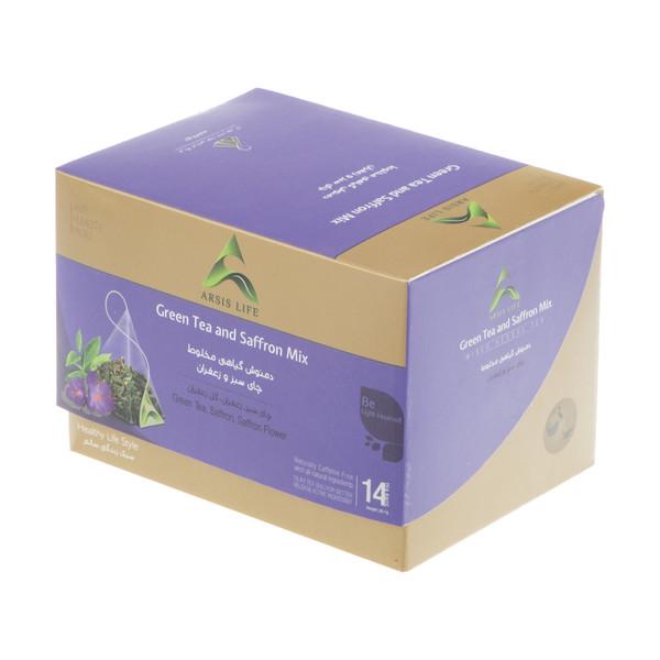 دمنوش گیاهی مخلوط آرسیس با طعم چای سبز و زعفران بسته 14 عددی
