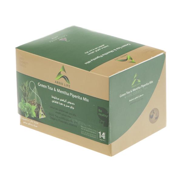 دمنوش گیاهی مخلوط آرسیس با طعم چای سبز و نعناع فلفلی - بسته 14 عددی