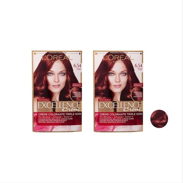کیت رنگ موی لورال مدل Excellence شماره 6.54 حجم 48 میلی لیتر  مجموعه 2 عددی