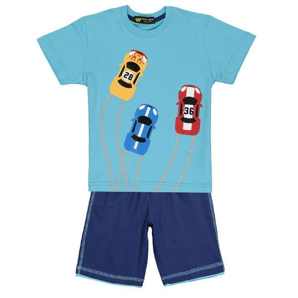 ست تی شرت و شلوارک پسرانه خرس کوچولو مدل Car کد 04