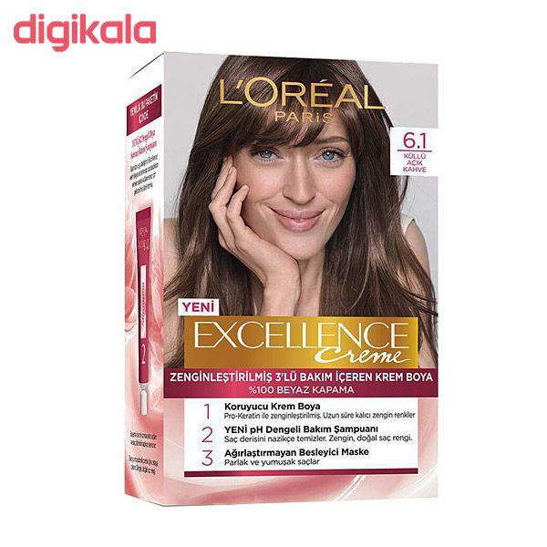 کیت رنگ مو لورآل مدل Excellence شماره 6.1 حجم 48 میلی لیتر رنگ قهوه ای main 1 1