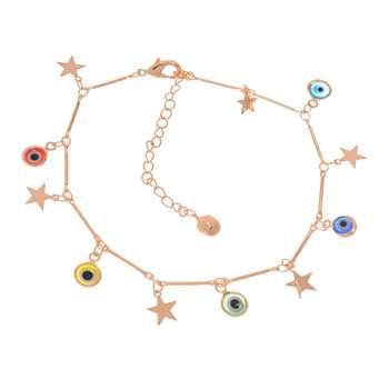 پابند زنانه طرح ستاره و چشم نظر کد PA1172