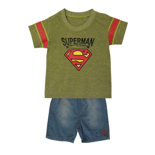ست تیشرت و شلوارک پسرانه طرح سوپرمن کد ۸۹۲