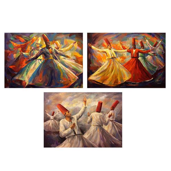 تابلو 3  تکه چاپ سی طرح معروف ترین نقاشی های جهان کد MA132