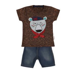 ست تیشرت و شلوارک پسرانه طرح خرس کد ۹۲۱