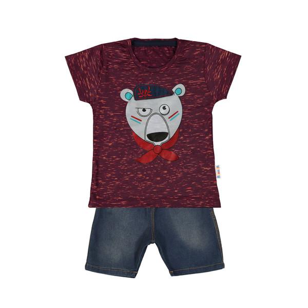 ست تیشرت و شلوارک پسرانه طرح خرس کد ۹۲۳