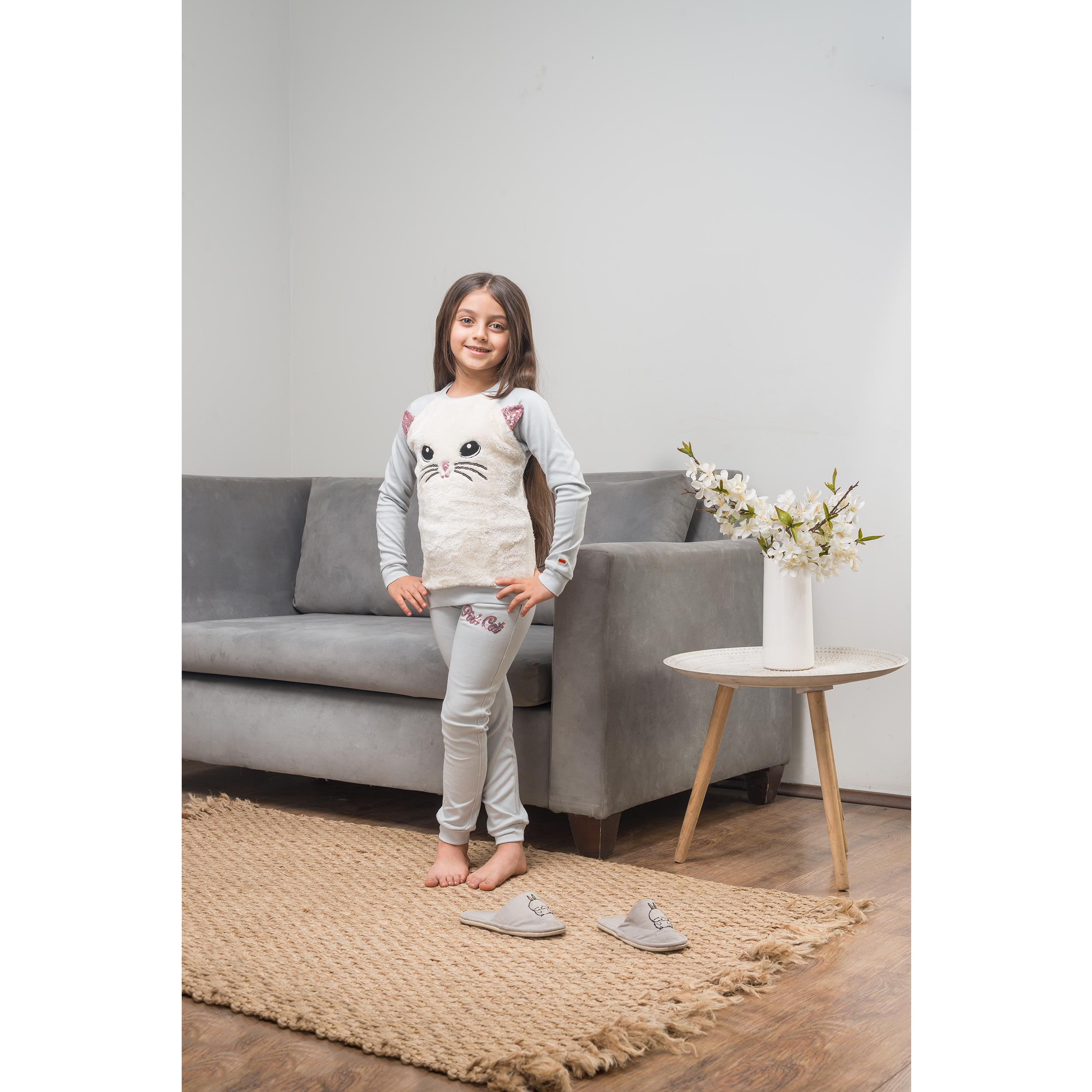 ست تی شرت و شلوار دخترانه مادر مدل LarisaGray-93