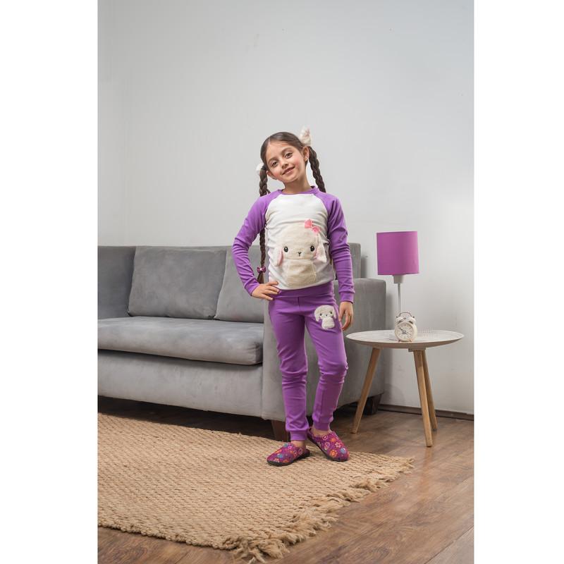 ست تی شرت و شلوار دخترانه مادر مدل TaminaViolet-64