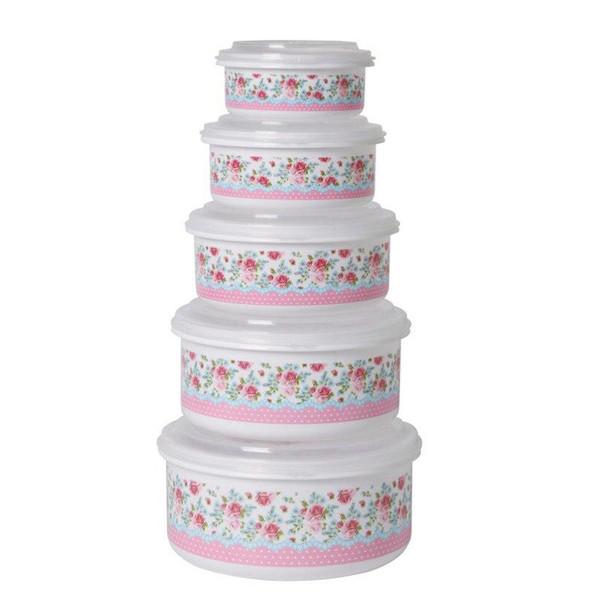 ظرف نگهدارنده فرش کیپس مدل گلدار مجموعه 5 عددی