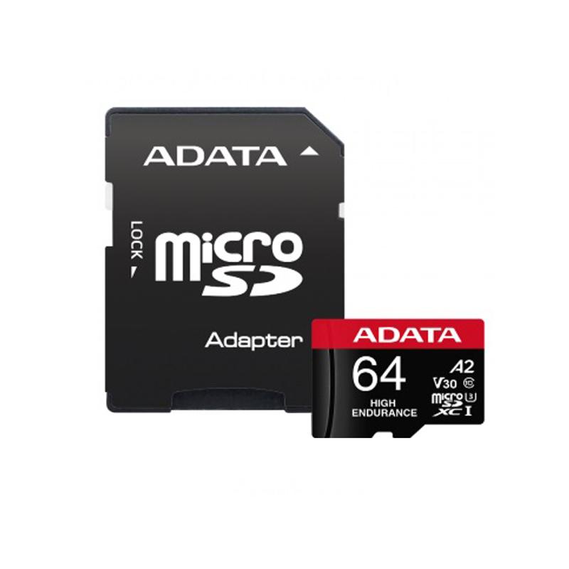 کارت حافظه   microSD  ای دیتا مدل HIGH ENDURANCE کلاس A2 V30 استاندارد UHS-I U3 سرعت 100MBps ظرفیت 64 گیگابایت به همراه آداپتور SD