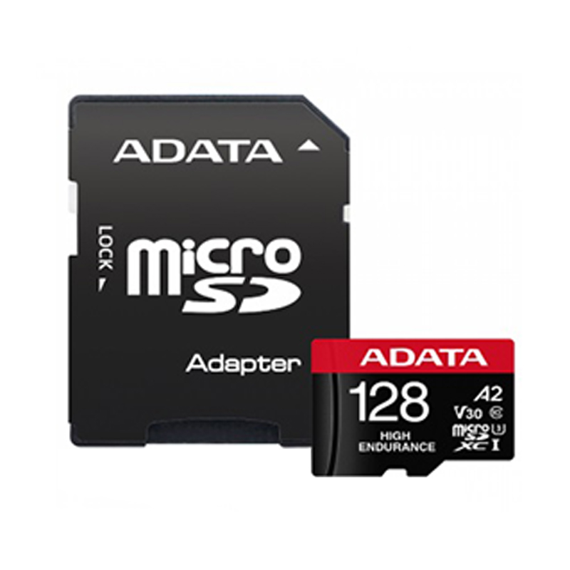کارت حافظه   microSD  ای دیتا مدل HIGH ENDURANCE کلاس A2 V30 استاندارد UHS-I U3 سرعت 100MBps ظرفیت 128 گیگابایت به همراه آداپتور SD