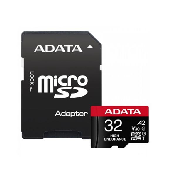 کارت حافظه   microSD  ای دیتا مدل HIGH ENDURANCE کلاس A2 V30 استاندارد UHS-I U3 سرعت 100MBps ظرفیت 32 گیگابایت به همراه آداپتور SD