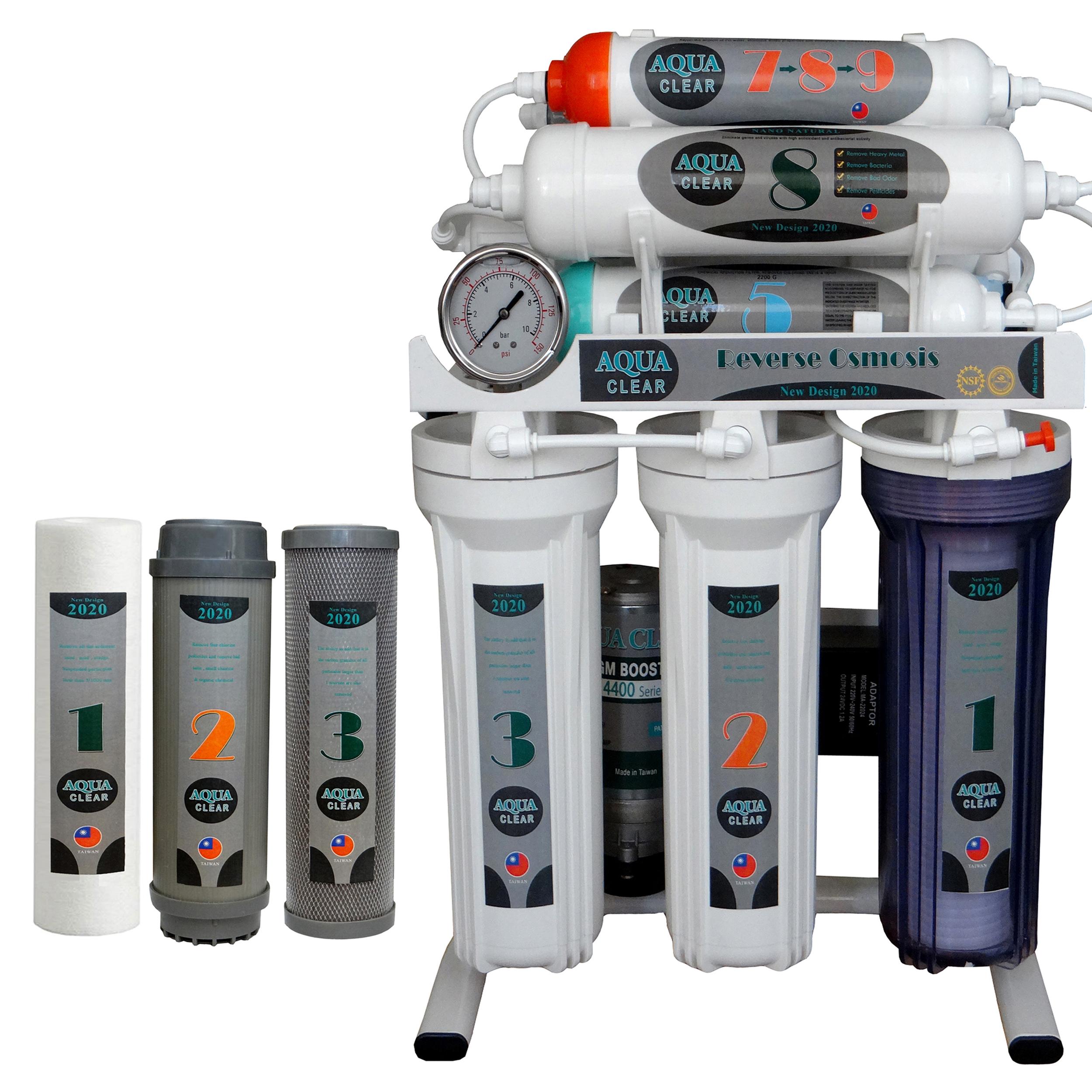 دستگاه تصفیه کننده آب آکوآکلیر مدل NEWDESIGN 2020 - AQN9 به همراه فیلتر بسته 3 عددی