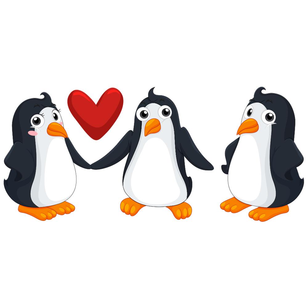 استیکر مستر راد طرح پنگوئن های عاشق مدل HSE 001 مجموعه سه عددی