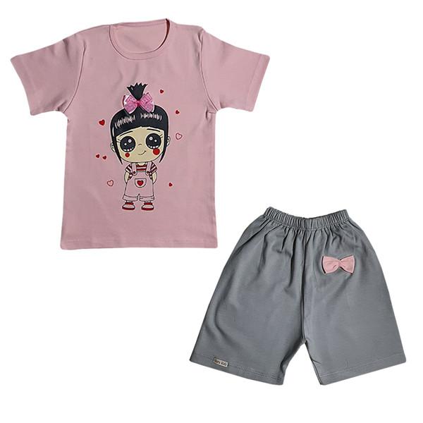 ست تیشرت آستین کوتاه و شلوارک دخترانه طرح دخترک کد D3