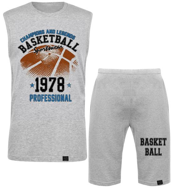 ست تاپ و شلوارک مردانه 27 طرح Basketball کد M15