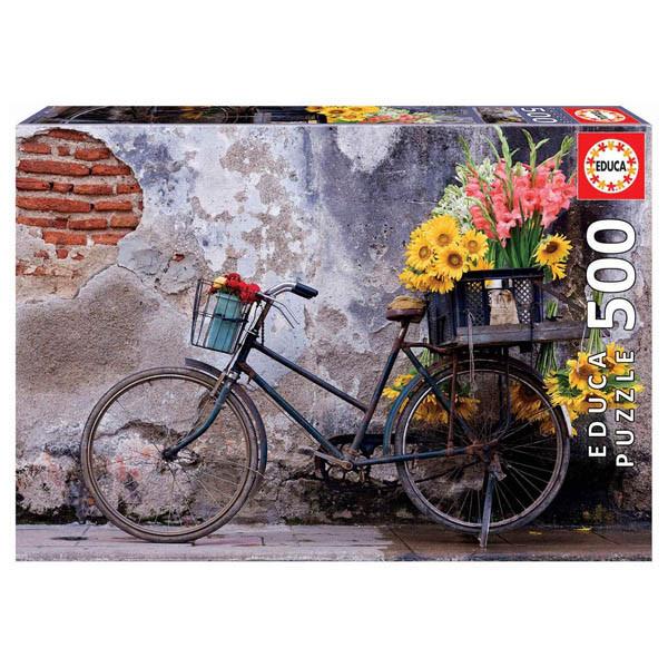 پازل 500 تکه ادوکا مدل BICYCLE WITH FLOWERS