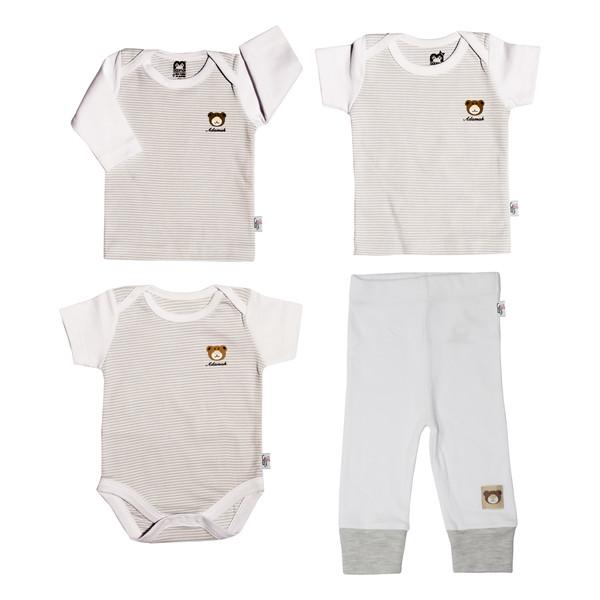 ست 4 تکه لباس نوزادی آدمک طرح راه راه کد 0-152084 رنگ طوسی