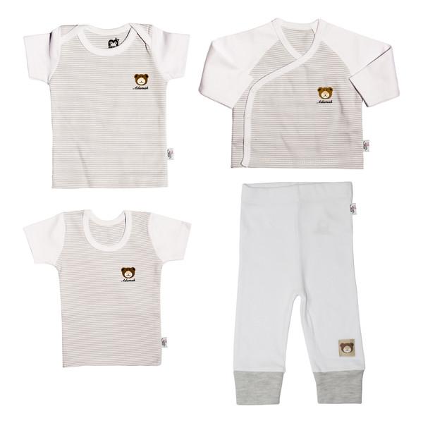 ست 4 تکه نوزاد آدمک طرح راه راه کد 0-152086 رنگ طوسی