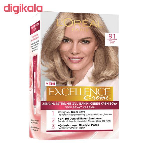 کیت رنگ مو لورآل مدل Excellence شماره 9.1 حجم 48 میلی لیتر رنگ بلوند طلایی main 1 2