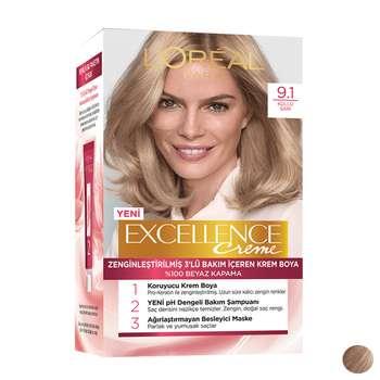 کیت رنگ مو لورآل مدل Excellence شماره 9.1 حجم 48 میلی لیتر رنگ بلوند طلایی