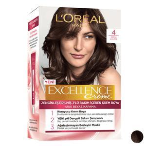 کیت رنگ مو لورآل مدل Excellence شماره 4 حجم 48 میلی لیتر رنگ قهوه ای
