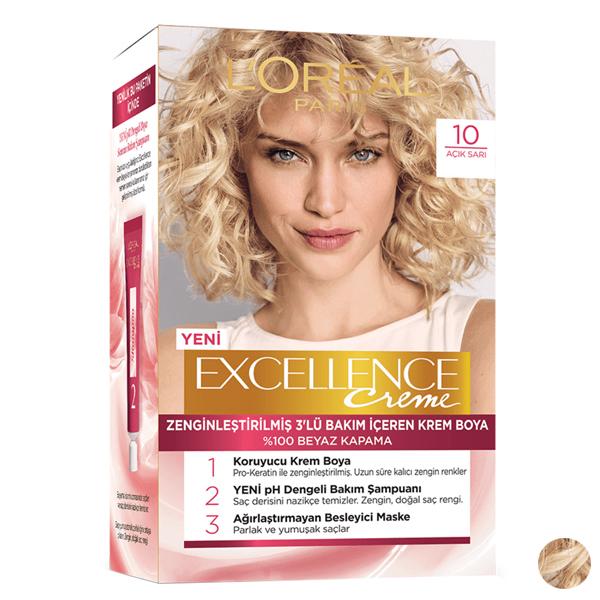 کیت رنگ مو لورآل مدل Excellence شماره 10 حجم 48 میلی لیتر رنگ بلوند طلایی