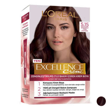 کیت رنگ مو لورآل مدل Excellence شماره 5.15 حجم 48 میلی لیتر رنگ شرابی
