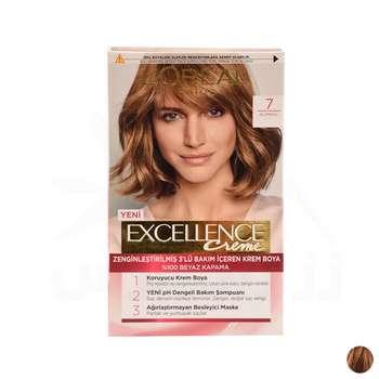 کیت رنگ مو لورآل مدل Excellence شماره 7 حجم 48 میلی لیتر رنگ قهوه ای