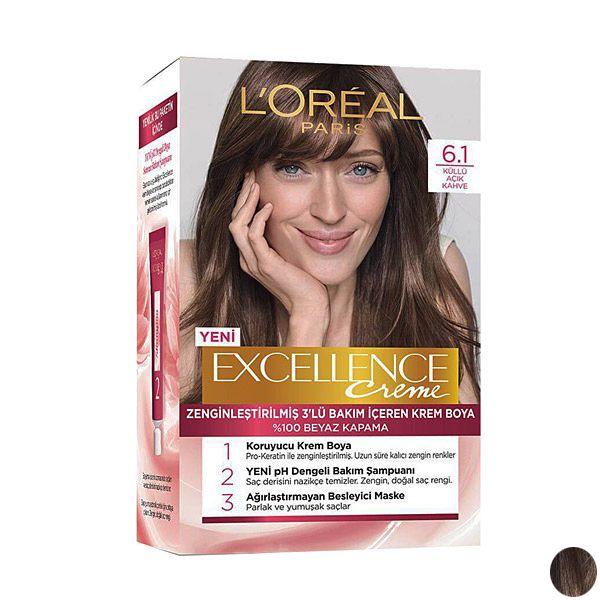 کیت رنگ مو لورآل مدل Excellence شماره 6.1 حجم 48 میلی لیتر رنگ قهوه ای