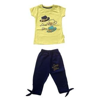 ست تی شرت و شلوارک دخترانه کد L-1004